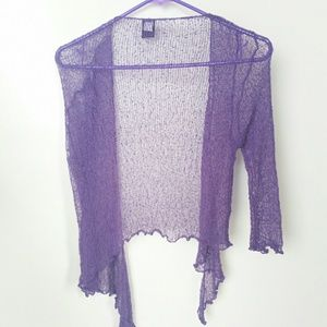 Purple Cardigan 3/4 Sleeve Sweater
